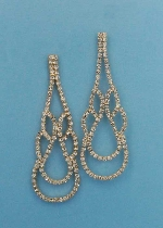 """Clear/Gold Small Round Stone Pawn Earring 2.5"""" Post"""