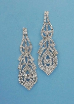 """Clear/Silver Small/Medium Round Stone 2"""" Post Earring"""