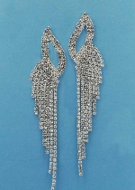 """Clear/Silver Dancing Rows 3.5"""" Post Earring"""