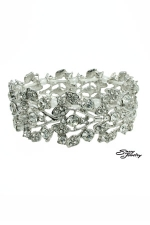 Clear/Silver Multi-leaves Stretch Bracelet