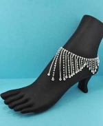 Clear/Silver Multiple Row Round Stone Ankle Bracelet