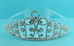 Clear/Silver Small Round Stone Crown Tiara