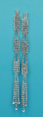 """Clear Silver Multi Round Stone 4.5"""" Post Earring"""