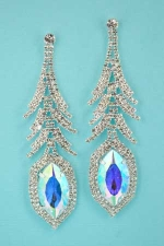 """AB/ Silver Large Rhinstone Branched Marquise Stone 4&1/4"""" Dangle Post Earring"""