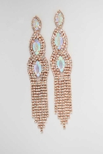 "Aurora Borealis/Clear Rose Gold Squid Shape Dangle Rows 4"" Earring"