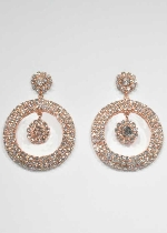Clear/Rose Gold Round Shape Dangle Stone Earring