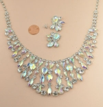 AB/Silver Marquise/Pear Spaced Lines Necklace Set