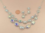 AB/Silver Double Level Halo Oval Stone Necklace Set