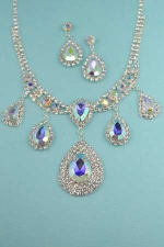 AB/Clear Silver Framed Pear/Marquise Stone Set