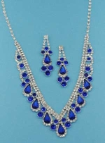 Sapphire/Clear Silver Drop/Round Stone Set