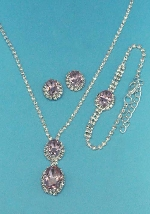 Rose/Clear Silver Three Pieces Oval Shape Set