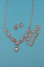 Rose/Clear Rose Gold Three Pieces Marquise Shape Set