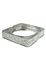 Clear/Silver Pave Square Bangle Bracelet