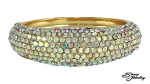 Ab/Gold Pave Front Bangle Bracelet