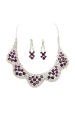 Amethyst Purple/Clear Silver 5 Scallop Cluster Set