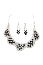 Jet Black/Clear/Silver 5 Scallop Cluster Set