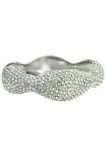 Clear/Silver Wave Thick Pave Bangle Bracelet