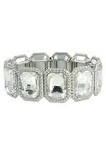 Clear/Silver Emerald Cut Stretchy Bracelet