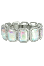 AB Clear Silver Emerald Cut Stretchy Bracelet