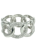 Clear Silver Large Link Stretch Bracelet