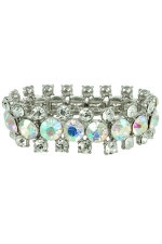 AB Clear Silver 3 Row Large Stone Stretch Bracelet