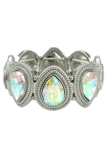 AB Clear Silver Multi-Teardrop Stretch Bracelet