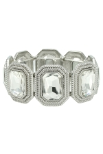 Clear Silver Multi-Rectangle Stretch Bracelet