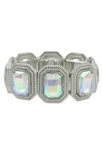 AB Clear Silver Multi-Rectangle Stretch Bracelet