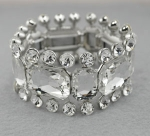 Clear/Silver Large Emerald Cut With Round Stone Edge Stretch Bracelet