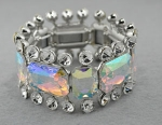 AB/Clear/Silver Large Square Stretch Bracelet