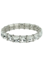 Clear/Silver Square 1 Row Stretch Bracelet