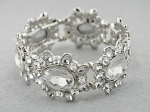 Clear/Silver Oval Cut Stone Cluster Stretch Bracelet