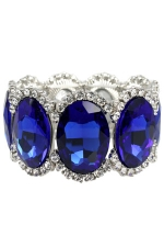 Sapphire/Clear/Silver Large Oval Stone Stretch Bracelet