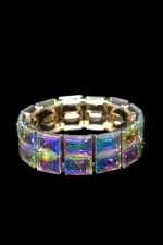 AB Gold Emerald Cut Double Row Stretch Bracelet