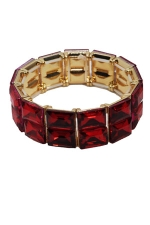 Siam/Gold Two Row Emerald Cut Stretch Bracelet