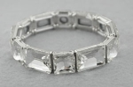 Clear Silver Emerald/Princess Cut Stone Stretch Bracelet