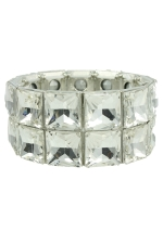 Clear/Silver Two Line Square Stretch Bracelet