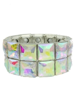 AB Silver Two Line Square Stretch Bracelet