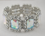 AB Silver Emerald Framed With Round Stone Stretch Bracelet