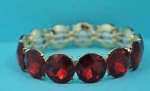 Siam Light/Gold Medium Round Stone Row Stretch Bracelet