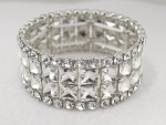 Clear/Silver Small Double Princess Cut Inlayed in Round Stone Stretch Bracelet