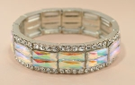 AB Silver Double Stretched Emerald Cut Stone Rim Stretch Bracelet