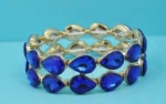 Sapphire/Gold Two Row Pear Shape Stretch Bracelet