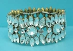 Clear/Antique Gold Marquise/Round Stone Stretch Bracelet