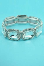Clear Silver Rectangle Stretch Bracelet