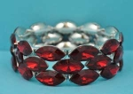 Siam Dark/Silver Three Row Marquise Stone Stretch Bracelet