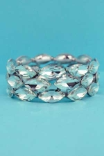 Clear Silver 3 Row Marquise Stone Stretch Bracelet