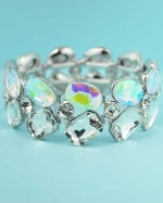 Aurora Borealis/Clear Silver Multiple Stone Stretch Bracelet