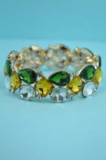 Emerald/Clear 3 Row Center Stone Stretch Bracelet