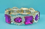 Fuchsia/Clear Gold Square/Pear Stone Stretch Bracelet